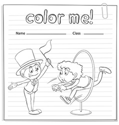 A worksheet with two men vector image vector image