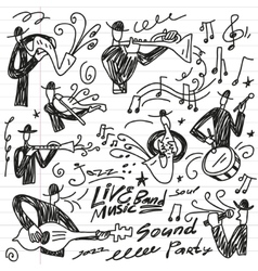 abstract musicians - doodles set vector image vector image