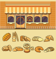 Bakery shop facade and set of colorful food icons vector