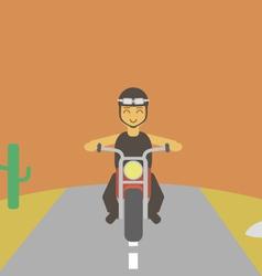 Boy driving bike vector