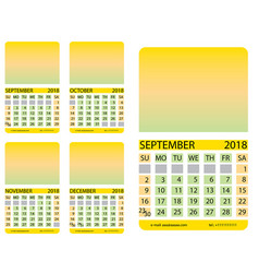 Calendar gridseptember october november vector