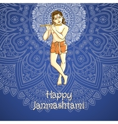 Cartoon of lord krishana in happy vector