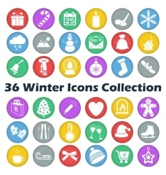 Color winter circle icon collection vector