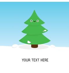 Cute christmas tree card vector image