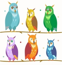 Cute Colorful Owl Set on the Branch vector image