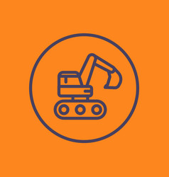 excavator linear icon in circle vector image vector image