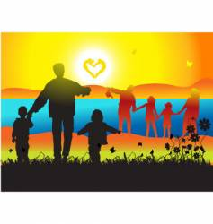 family and landscape vector image vector image