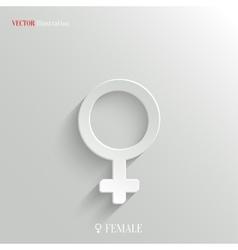 Female icon - white app button vector image