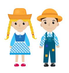 Festa junina girl and boy in traditional festive vector