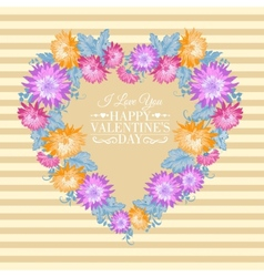 Heart floral frame vector