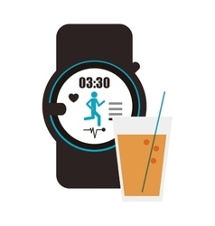 Heart rate wrist monitor and glass beverage icon vector