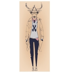 hipster portrait of deer with glasses vector image