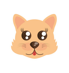 Kawaii face wolf animal fun vector