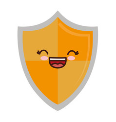 Kawaii shield icon vector