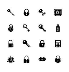 keys and locks - flat icons vector image