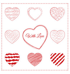 set of 10 sketchy doodle hearts vector image