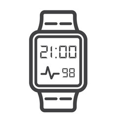 smart watch line icon gadget and device vector image