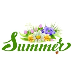 Summer lettering text bouquet of wild flowers vector