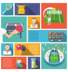 Tennis icons flat vector image