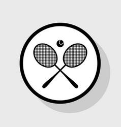 Tennis racket sign flat black icon in vector