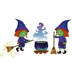 Two witches and magic brew pot vector
