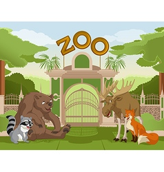 Zoo gate with forest animals 1 vector