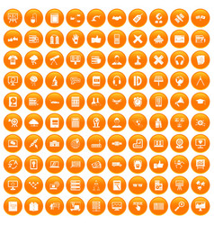 100 education technology icons set orange vector
