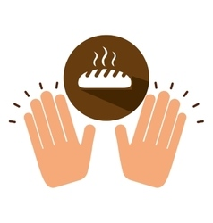 Two hands holding hot bread vector