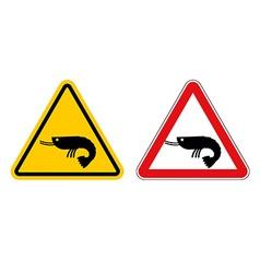 Warning sign attention shrimp hazard yellow sign vector
