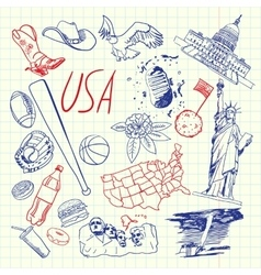 USA Symbols Pen Drawn Doodles Collection vector image
