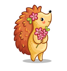 Cute hedgehog with bouquet of flowers vector