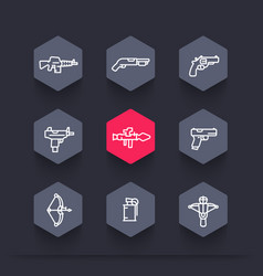 Weapons icons set in linear style vector
