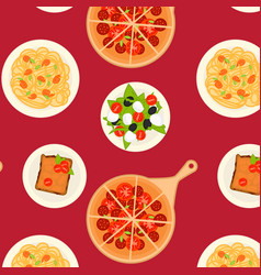 colorful italian dishes and meals pattern vector image