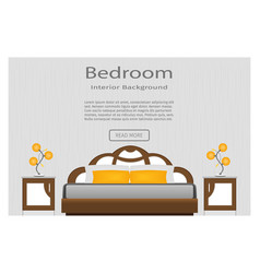Web banner of elegance bedroom interior with vector