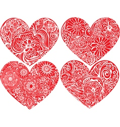 Set of hearts shapes with hand drawn floral orname vector image