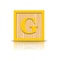Letter g wooden alphabet block vector