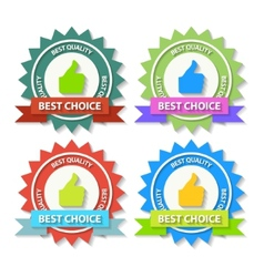Set of Flat Best Choice Labels with ribbon vector image