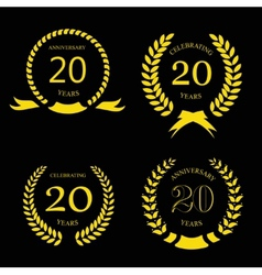 Twenty years anniversary laurel gold wreath - 20 vector