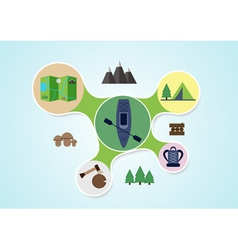 Camping and kayak graphic in round style outdoor vector