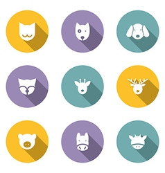 Set of Animal Portrait Icons With Long Shadow vector image
