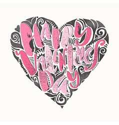 Happy valentines day love concept hand lettering vector