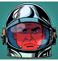 Emoticon evil emoji face man astronaut retro vector