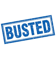 Busted blue grunge square stamp on white vector