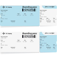airline boarding pass tickets for traveling vector image vector image