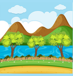 Background scene with river and mountain vector