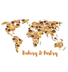 Bakery and pastry world map of bread vector