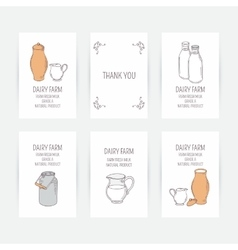 Business card set with milk icons Hand drawn vector image vector image