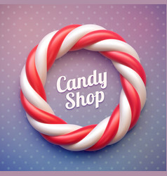 Candy cane circle frame on polka dot background vector