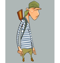 cartoon character surly man in a striped vest vector image vector image