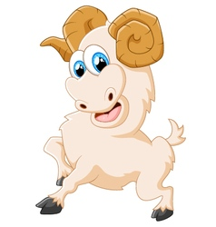 Cartoon happy animal goat posing vector image vector image